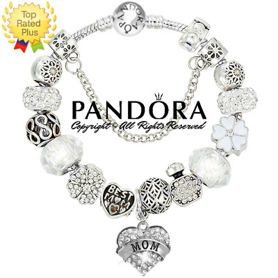 AUTHENTIC Pandora Bracelet Silver White BEST MOM HEART with European Charms New