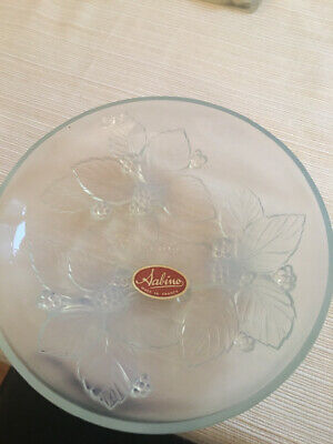 SABINO GLASS FRANCE SMALL OPALESCENT VIOLET DESIGN Footed TRAY DISH
