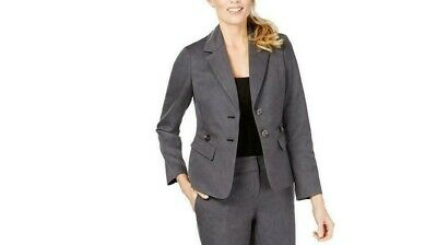 Le Suit Womens Gray Twill Notch Collar Business JACKET SIZE  10