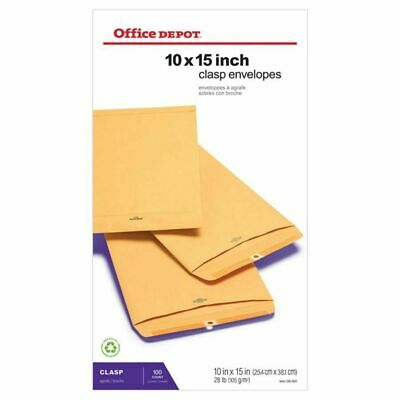 "Office Depot Clasp Envelopes - 10"" x 15""- Brown - Box Of 100"