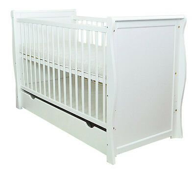 Baby Cot /Baby Bed With Drawer/Junior Bed Sara Ii White+ Selection Of Mattress