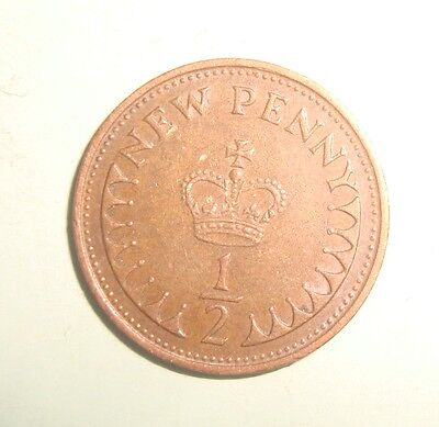 1971 1/2 Penny Queen Elizabeth Decimal Coin (Circulated)