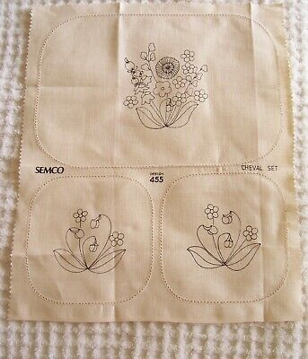 VINTAGE SEMCO CHEVAL SET  EMBROIDERY UNWORKED DESIGN No. 455 PURE LINEN