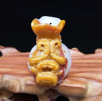 Chinese Natural HeTian Jade Hand-Carved Statue Moneybag Crab Exquisite Pendant