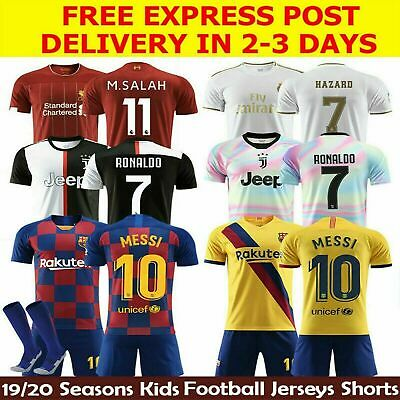 19/20 New Football Kit Soccer Suits Kids home away Jersey Shorts Socks Set