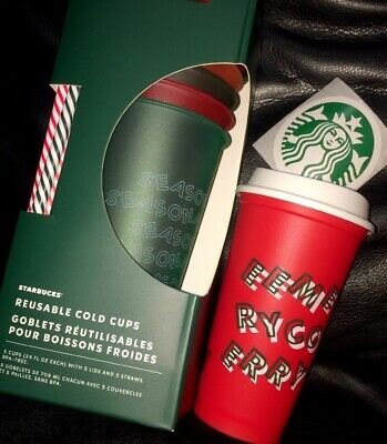 Starbucks 2019 Holiday Reusable Cold Cups 5 Pack & Merry Christmas Red Cup