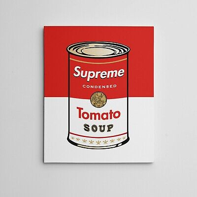 """16X20"""" Gallery Art Canvas SUPREME X ANDY WARHOL Tomato Soup Campbells Can Series"""