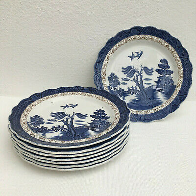 8 x  Booths ~ 'Real Old Willow' ~ A8025 Blue & White China ~ Small 19.5cm Plates