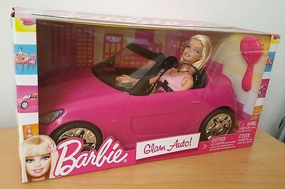 Barbie Pink Auto Glam Convertible Car & Doll V6744 Toy Gift Mattel *Brand New*