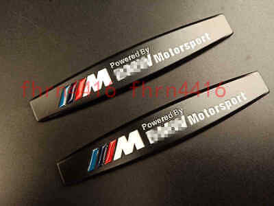 2PCS BMW ///M Powered by Matte Black Fender Metal Emblem Badge Sticker Logo
