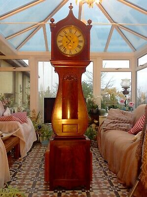 19th Century Scottish Lyre Shape Longcase Grandfather Clock
