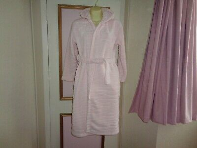 Girls  Fleece Dressing Gown With Hood~Ears Ty Belt Pale Pink  Fit 11~12 Yrs Bn