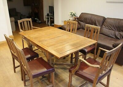 Solid Oak Dining Table With Carving Detail & 6 Solid Oak/Leather Chairs REDUCED