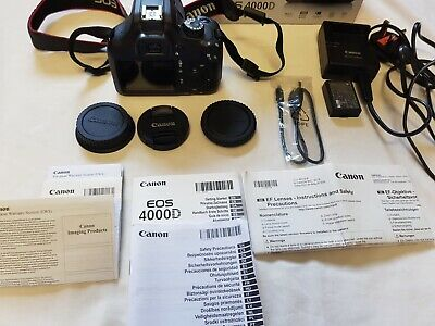 Boxed BN Cannon EOS 4000D DSLR Camera+Genuine Battery+EF-S 18-55mm Lens+Charger