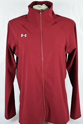 NWT! $60 Womens Under Armour Squad Woven Warm Up Jacket sz L Heat Gear Long