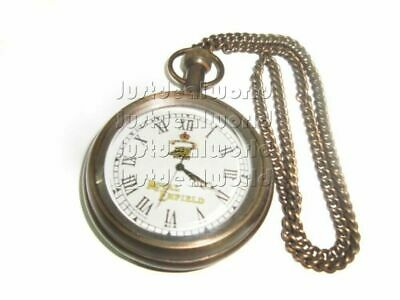 Good Quality Brass Pocket Watch With Chain Antique Finish For Royal Enfield