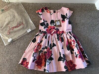 Joules Girls Party Dress, In Raspberry Pink Floral, Age 4 Years - Brand New