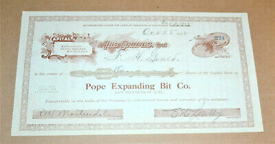 Pope Expanding Bit Co. 1912 antique stock certificate