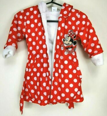 Disney Dressing Gown Minnie Mouse Size 2-3 Years Red Hooded Fleece Pockets