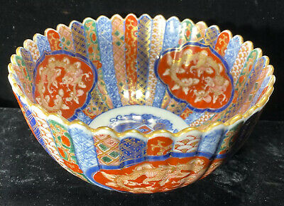 Vintage Japanese Period Imari Ware Hand Painted Scalloped Porcelain Bowl Signed