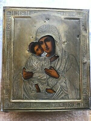 """Antique 19c Russian  Hand Painted Wood Icon """"The Virgin of Vladimir"""""""