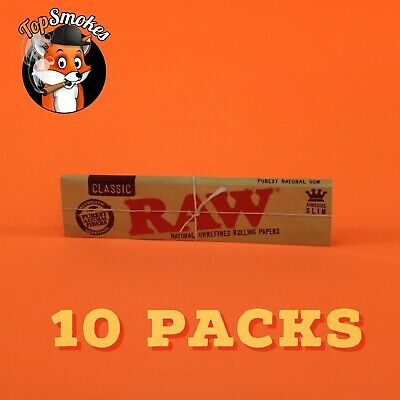 10 Packs Raw Classic King Size Slim Natural Unrefined Rolling Papers USA Seller