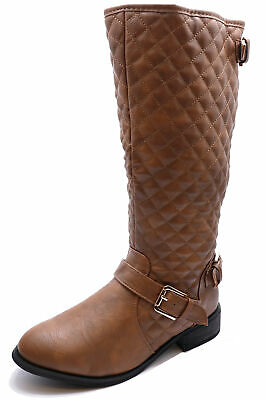 Ladies Brown Tan Quilted Knee-High Zip-Up Riding Tall Winter Boots Shoes Uk 3-4