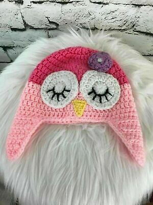 Pink Owl Girls One Sz Hat Hand Knit Animal Themed Trapper Beanie Warm Winter Cap