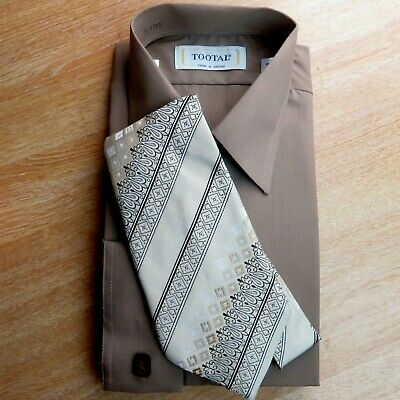 Vintage Mens Tootal Shirt & Wide Tie Brown Beige New Old Stock Collar 16""