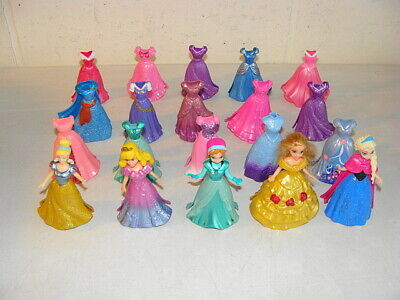 Mattel Disney Polly Pocket Lot Of 20 Magic Clip Gowns And 5 Princesses - Euc