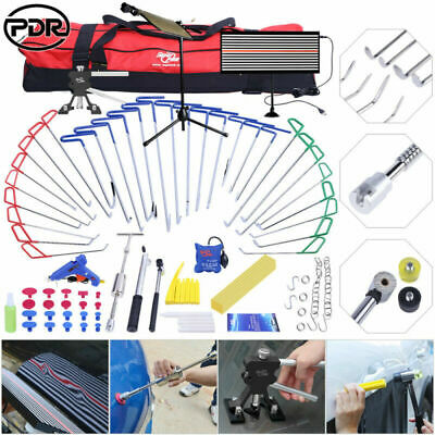 106× PDR Push Rods Paintless Dent Repair Puller Lifter LED Light Removal Tools