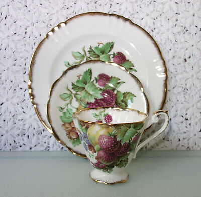 MINT Royal Standard Cup Saucer Plate Trio fine bone china England FRUITS Gold
