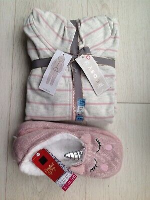 M&S Girls Pyjamas Age 15-16 Years & Slippers Size 6-8 NEW