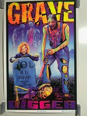 Grave Digger 1927 Blacklight Poster 23 x 35 Creepy Horror Skeletons Trippy NOS