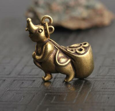 """1.3""""Curio Chinese Bronze Zodiac Animal Lucky Mouse Moneybag Wealth Small Pendant"""