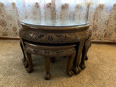 Hand carved Chinese table and nesting stools