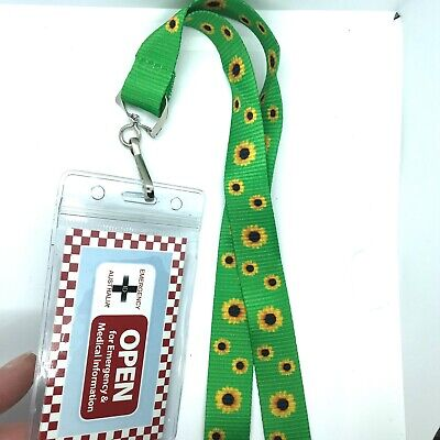 Disability Sunflower Lanyard with Emergency ID write on card & PVC Pouch