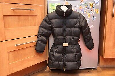 Ralph Lauren Black Girls Down Quilted Padded Jacket/Coat with belt Age 4/4T