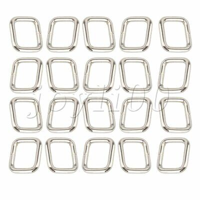 20pcs Metal Square Ring Webbing Buckle Adjusters Silver for Belts Bags Purse