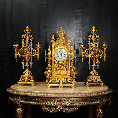 Japy Freres Antique French Gilt Bronze Gothic Clock Set