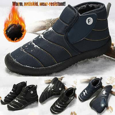 Mens Winter Warm Snow Bootie Fur Lined Round Toe Casual Outdoor Flat Boots Shoes