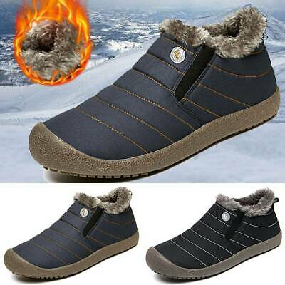 Men's Winter Warm Snow Boots Fur Lined Round Toe Flat Slip Striped Ankle Shoes