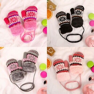 Kids Boys Girls Baby Gloves Knitted Thicken Warm Rope Ski Full Finger Mittens zz