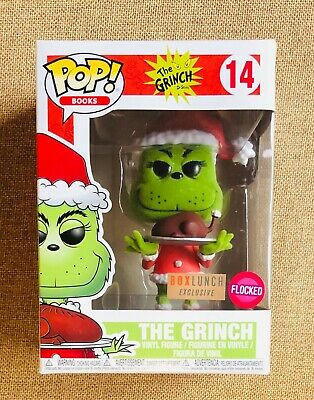 FUNKO THE GRINCH FLOCKED pop vinyl BOOKS #14 BOX LUNCH EXCLUSIVE Dr. Seuss + PP