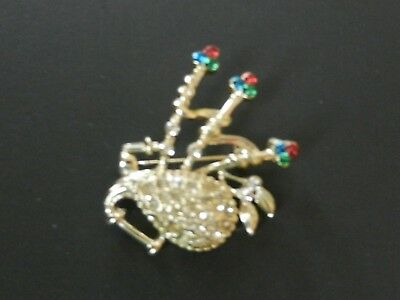 Vintage Rhinestone Bag Pipe Brooch Clear Green Red Rhinestone Bag Pipe Pin