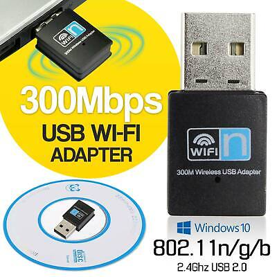 300Mbps Wireless USB Mini WiFi Dongle Adapter for PC Laptop LAN Network 2.4GHz