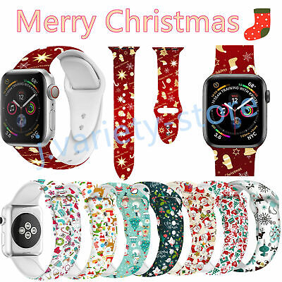 Xmas Silicone Band Bracelet Sport Strap For Apple Watch iWatch Series 1 2 3 4