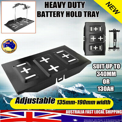 Car Battery Tray Adjustable Hold Down Clamp Bracket Set Cycle Metal Universal AU