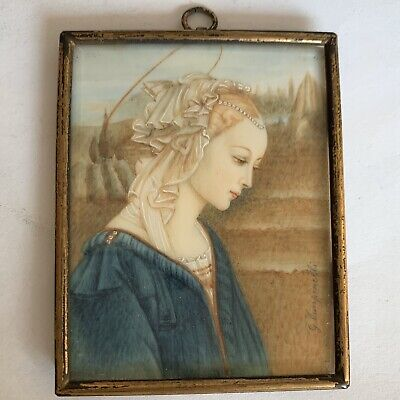 Antique Early 20th Century Portrait Miniature After Filippo Lippi Madonna Signed