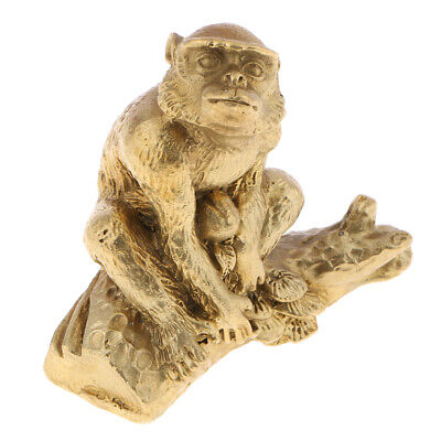 Zodiac Animal Statue Chinese Fengshui Decor Brass  Figurine Money Luck-Monkey